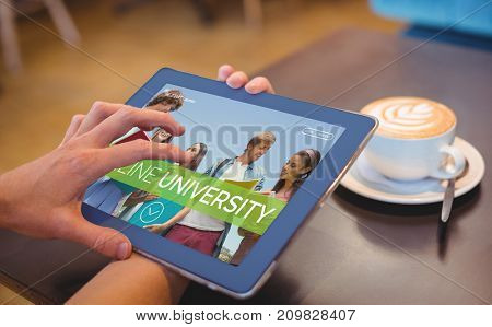 Smiling students at university against  close-up of digital 3D tablet and coffee on table Close-up of digital tablet and coffee on table in the coffee shop