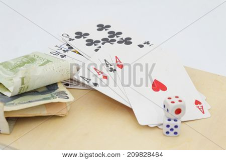 Concept of gambling and betting. Isolated white background