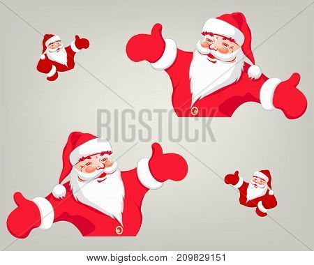 the image of Santa Claus is red, the arms are divorced in the sides, indicates the direction, the set