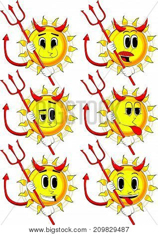 Cartoon devil sun with pitchfork. Collection with happy faces. Expressions vector set.