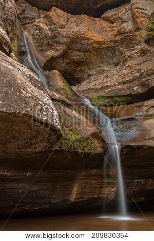 Waterfall over Rocks in Cedar Falls in Hocking Ohio
