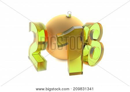 New 2018 Year Yellow Glass Figures With Golden Decoration Ball