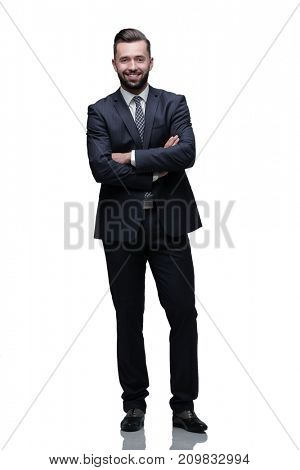 in full growth. businessman arms folded