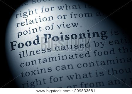 Fake Dictionary Dictionary Definition Of The Word Food Poisoning. Including Key Descriptive Words.