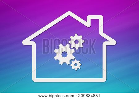 Paper house with cogwheels inside dark colorful background. Abstract conceptual image
