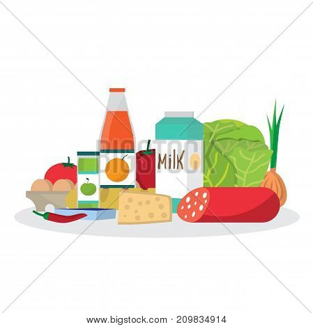 Shopping from the grocery store. Eating from the supermarket. Bread, milk, vegetables, juices, sausage, cheese and more. Flat cartoon vector illustration