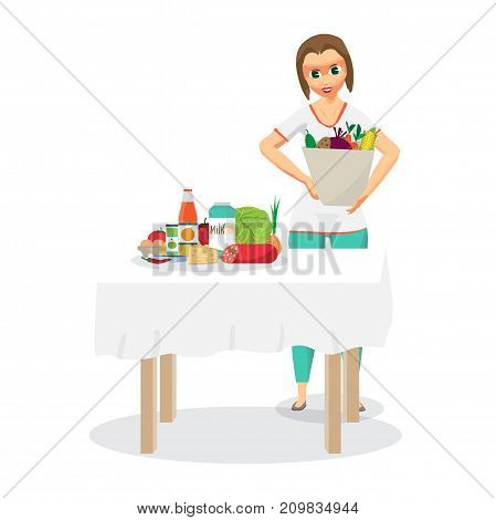 Young woman housewife came from the supermarket and unloaded the purchased food on the table. Flat cartoon vector illustration