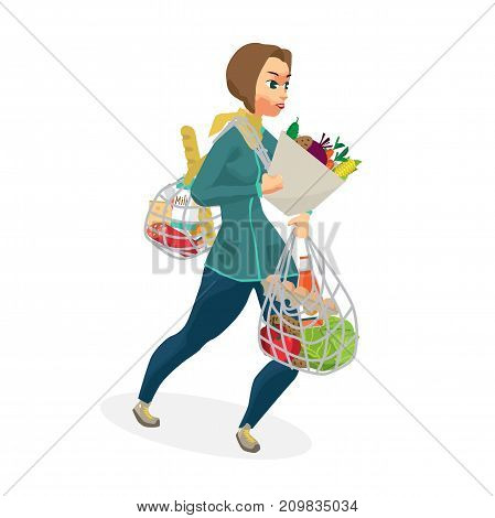Young woman carries a full bag of food. The girl drags on herself many products bought in the store. Flat cartoon vector illustration