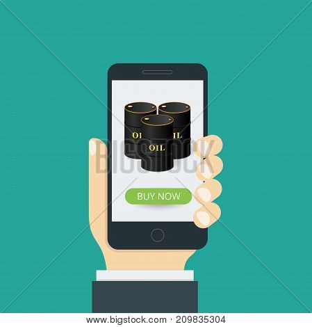 Concept of a mobile application. In hand a smartphone and on the screen an oil barrel with a buy now button. Vector illustration.