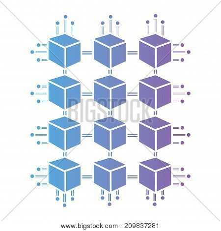 line cubes circuits power electric vector illustration