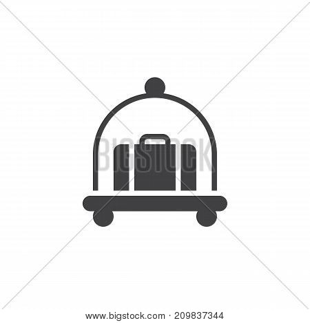 Hotel luggage cart with suitcase icon vector, filled flat sign, solid pictogram isolated on white. Symbol, logo illustration.