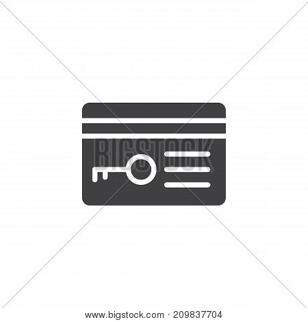 Key card icon vector, filled flat sign, solid pictogram isolated on white. Symbol, logo illustration.