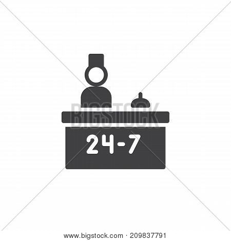 Hotel reception service and receptionist icon vector, filled flat sign, solid pictogram isolated on white. Symbol, logo illustration.