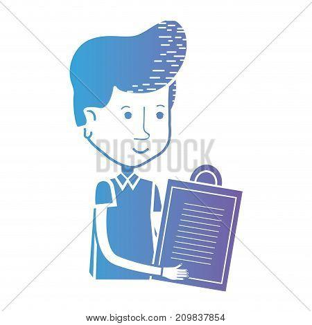 line delivery man checking list order vector illustration