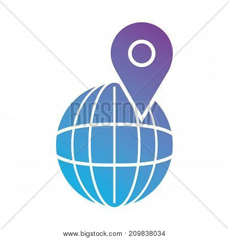 line global planet with location symbol vector illustration