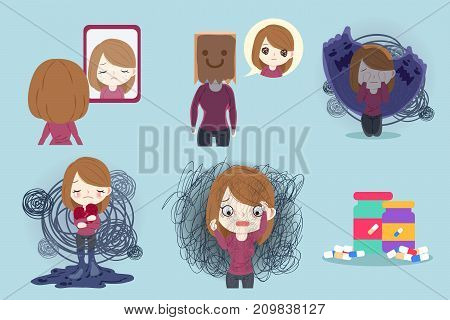 woman with depressed problem on the blue background