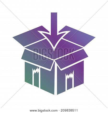 line box package object apen with arrow down vector illustration