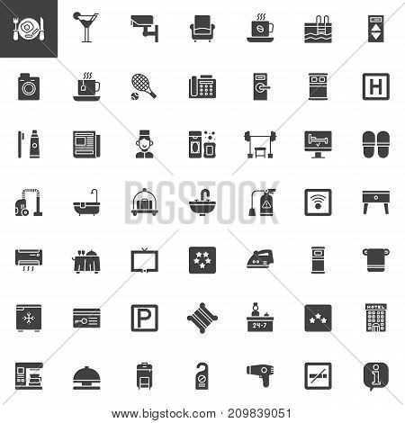 Hotel services and facilities vector icons set, modern solid symbol collection, filled pictogram pack. Signs, logo illustration. Set includes icons as hotel, reception, laundry, bell boy, sofa