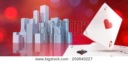 Digital 3D image of playing cards with ace of hearts on top against composite image of a digital city