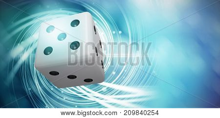 Digitally generated image of 3D dice against background with shiny spiral