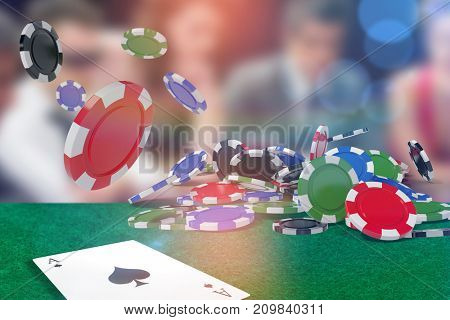 Vector image of 3D gambling chips against people around poker table