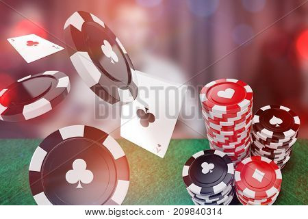 3D image of black casino token with clubs symbol against serious man looking up from high stakes poker game