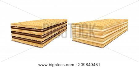 Set of vector illustrations of rectangular crispy wafers with chocolate and milk filling, isolated on white background in a realistic style.
