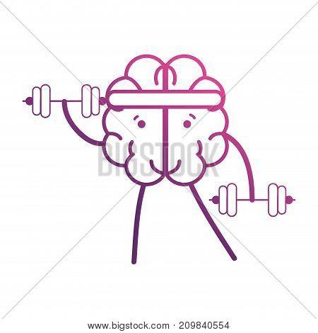 line brain kawaii with dumbbells object vector illustration