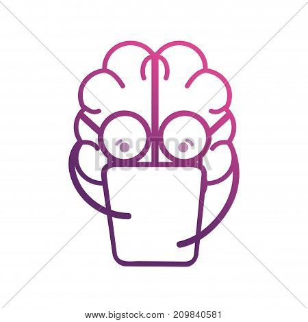 line brain kawaii with documents and glasses vector illustration