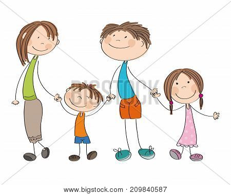 Happy young family - original hand drawn illustration of mum dad and their children (boy and girl)