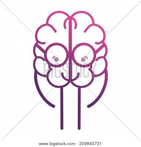 line adorable brain kawaii with glasses vector illustration
