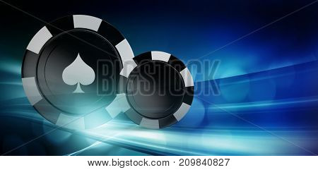 Vector 3D image of black casino token against glowing background