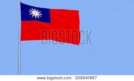 Flag of Taiwan - Republic of China on a flagpole fluttering in the wind on blue background 3d rendering