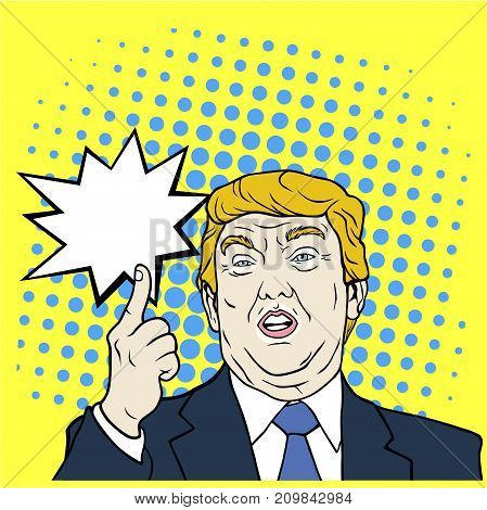 Donald Trump, The 45th President of The United States, Pop Art, Flat Design Vector Illustration Editorial