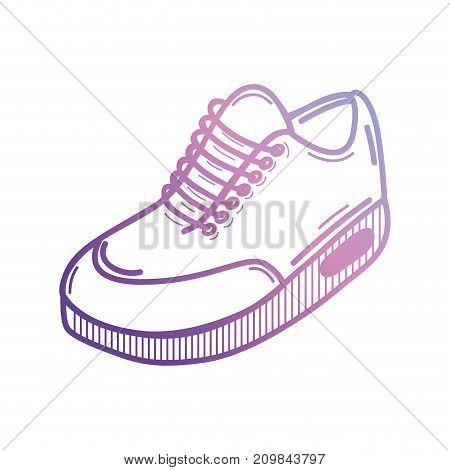 line sport sneakers style design vector illustration