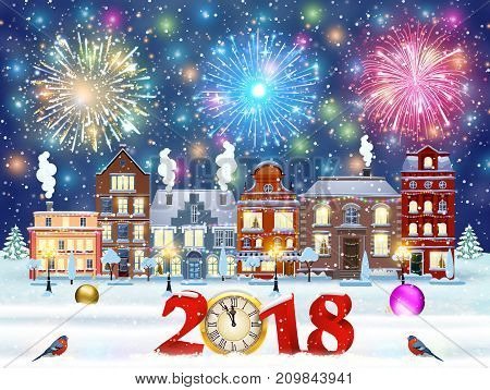 happy new year and merry Christmas winter old town street with trees. Christmas card with cityscape and fireworks. concept for greeting and postal card, invitation, template, 2018 clock