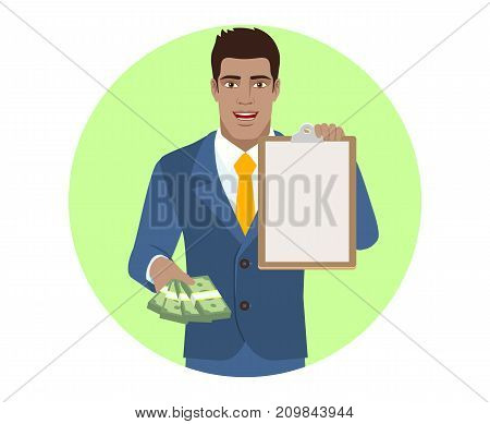 Businessman with money and clipboard. Portrait of Black Business Man in a flat style. Vector illustration.