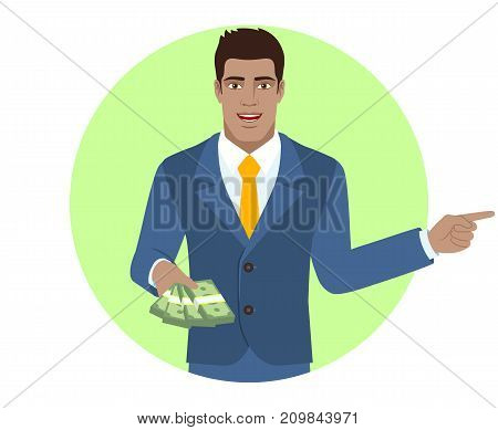 Businessman with money showing somewhere. Portrait of Black Business Man in a flat style. Vector illustration.