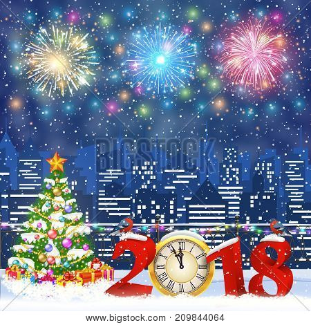 happy new year and merry Christmas Winter Cityscape with christmas tree, snow flakes. Christmas card with cityscape and fireworks, 2018 with clock