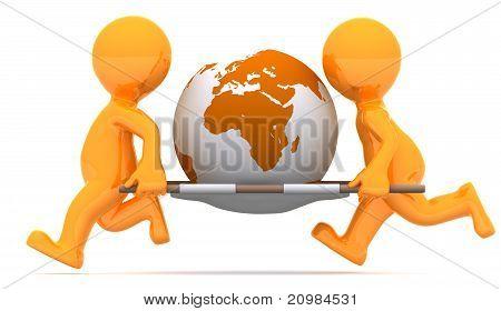 Medics Carrying Earth Globe. Conceptual Illustration.