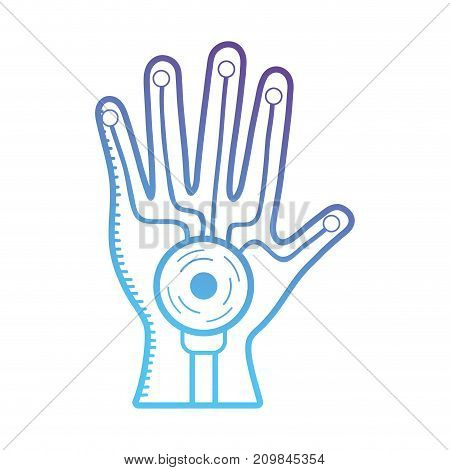 line hand cyberspace technology to virtual game vector illustration