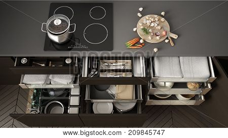 Opened Wooden Kitchen Drawer With Accessories Inside, Solution For Kitchen Storage And Organizing, C