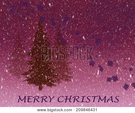 Pine trees in snow fall illustrated purple empty card
