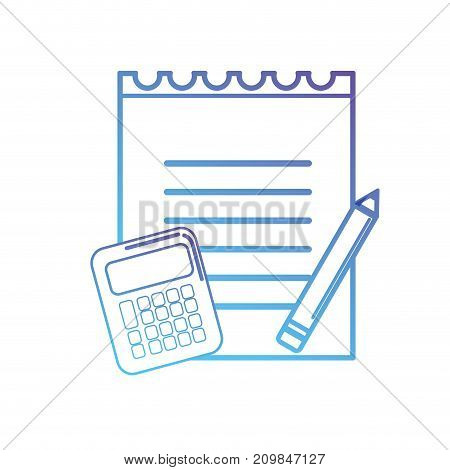 line notebook paper with calculator object and pencil vector illustration