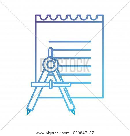 line notebook paper and compass school object vector illustration