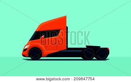 Flat vector illustration of an orange semi trailer truck in futuristic modern design with sleeper cabin side view isolated on blue green background in cartoon style.