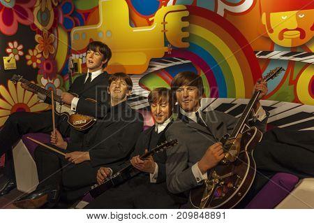 Berlin - March 2017: The Beatles wax figures in Madame Tussauds museum