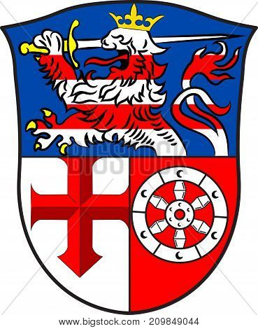 Coat of arms of Heppenheim is the seat of Bergstrasse district in Hesse Germany. Vector illustration