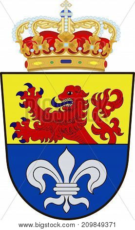 Coat of arms of Darmstadt is a city in the state of Hesse in Germany. Vector illustration from the