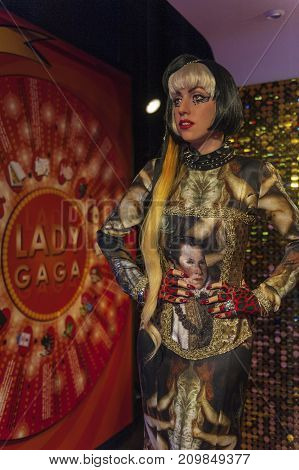 Berlin - March 2017: Lady Gaga wax figure in Madame Tussauds museum